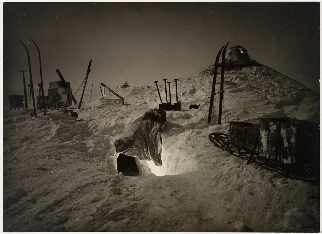 Winter quarters, Queen Mary Land. Australasian Antarctic Expedition by Frank Hurley, 1911-1914. State Library, New South Wales.