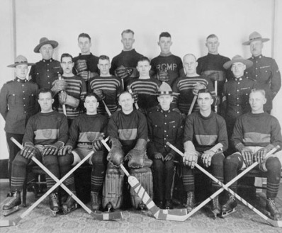 """Royal Canadian Mounted Police (RCMP) hockey team, """"A division"""" Undated. National Archives of Canada/ George Mully collection/ PA-112244"""